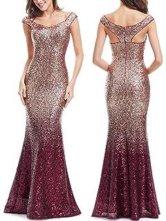 Ever Pretty Women Sparkling Gradual Champagne Gold Sequin Mermaid Cap  Sleeves… 98da4ca152f2