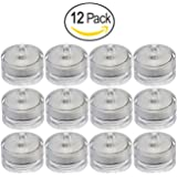 Submersible Underwater LED Lights Waterproof Tea Lights For Wedding, Party, Pond, Fountain or Home Decor By Royal Imports, 12-Pack
