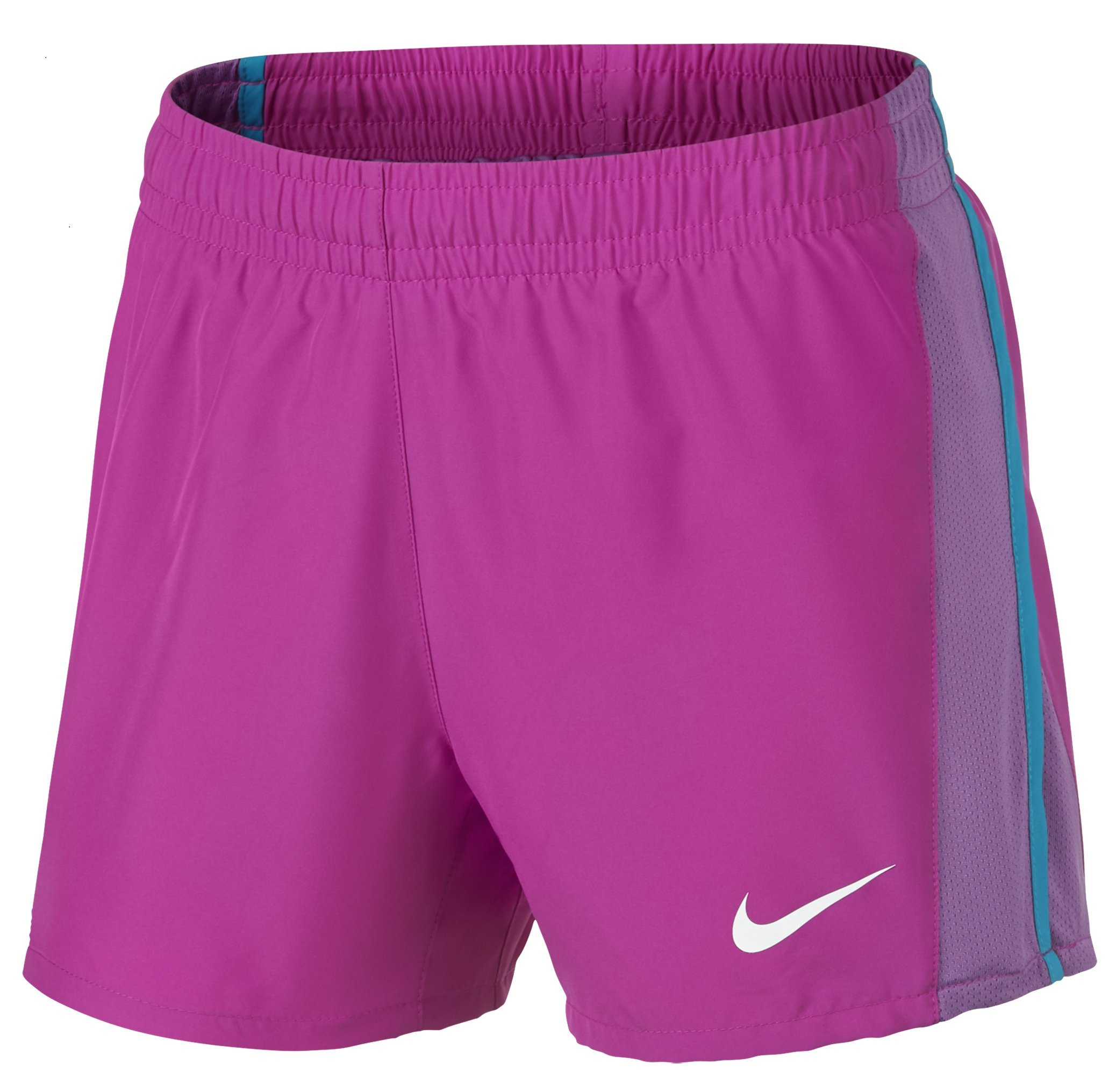 NIKE Girls' Dry 10K Running Shorts, Hyper Magenta/Dark Orchid/Neo Turquoise, X-Small by Nike