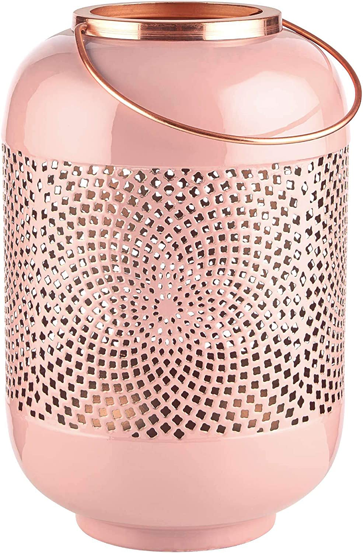 Kerzenlaterne Butlers Emilie Laterne H?he 30cm in Ros Orientalisches Windlicht aus Metall mit Ornamenten und Bronze