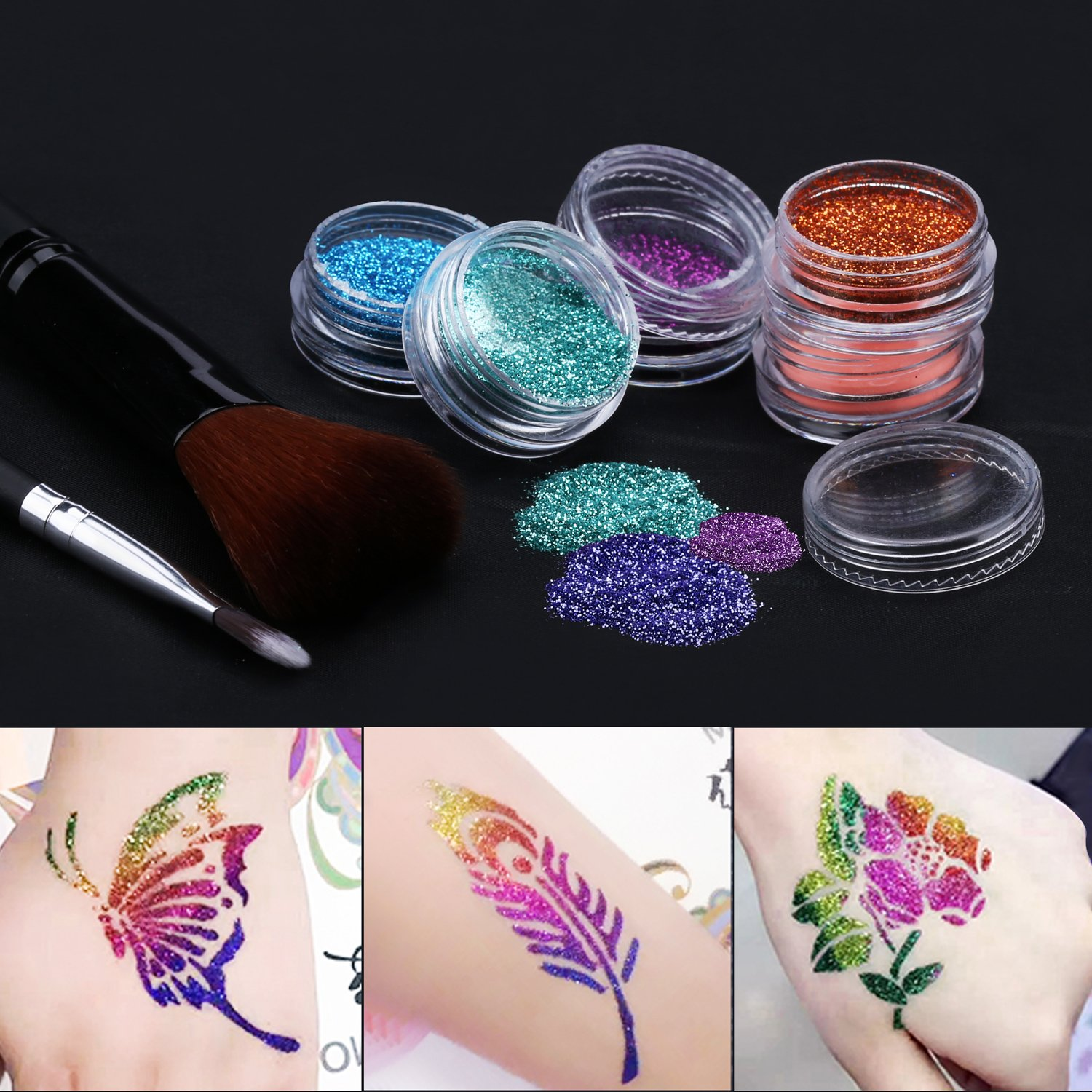 Tattoo-Kit, temporäre Glitzer Tattoo Make Up Körper Glitzer Kunst Design für Kinder Teenager Erwachsene, mit 24 Farben der Glitzer und 6 Leuchtstoffe, 118 Blatt Einzigartig Themed Tattoo Schablone