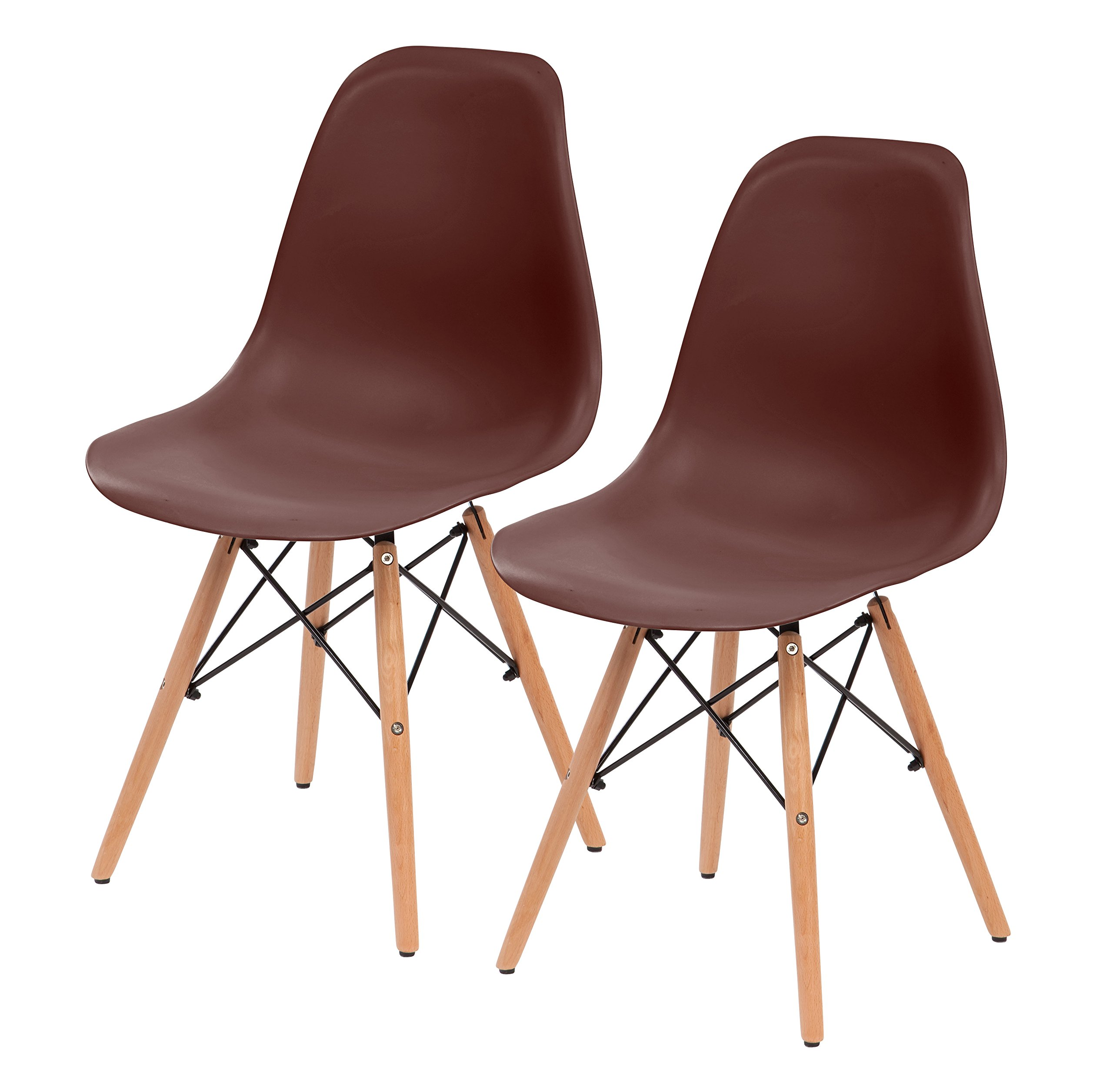 IRIS Mid-Century Modern Shell Chair with Wood Eiffel Legs, 2 Pack, Chocolate Brown