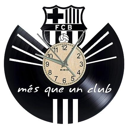 EVEVO FC Barcelona Reloj de Pared Vinilo Tocadiscos Retro de Reloj Grande Relojes Style habitación Home