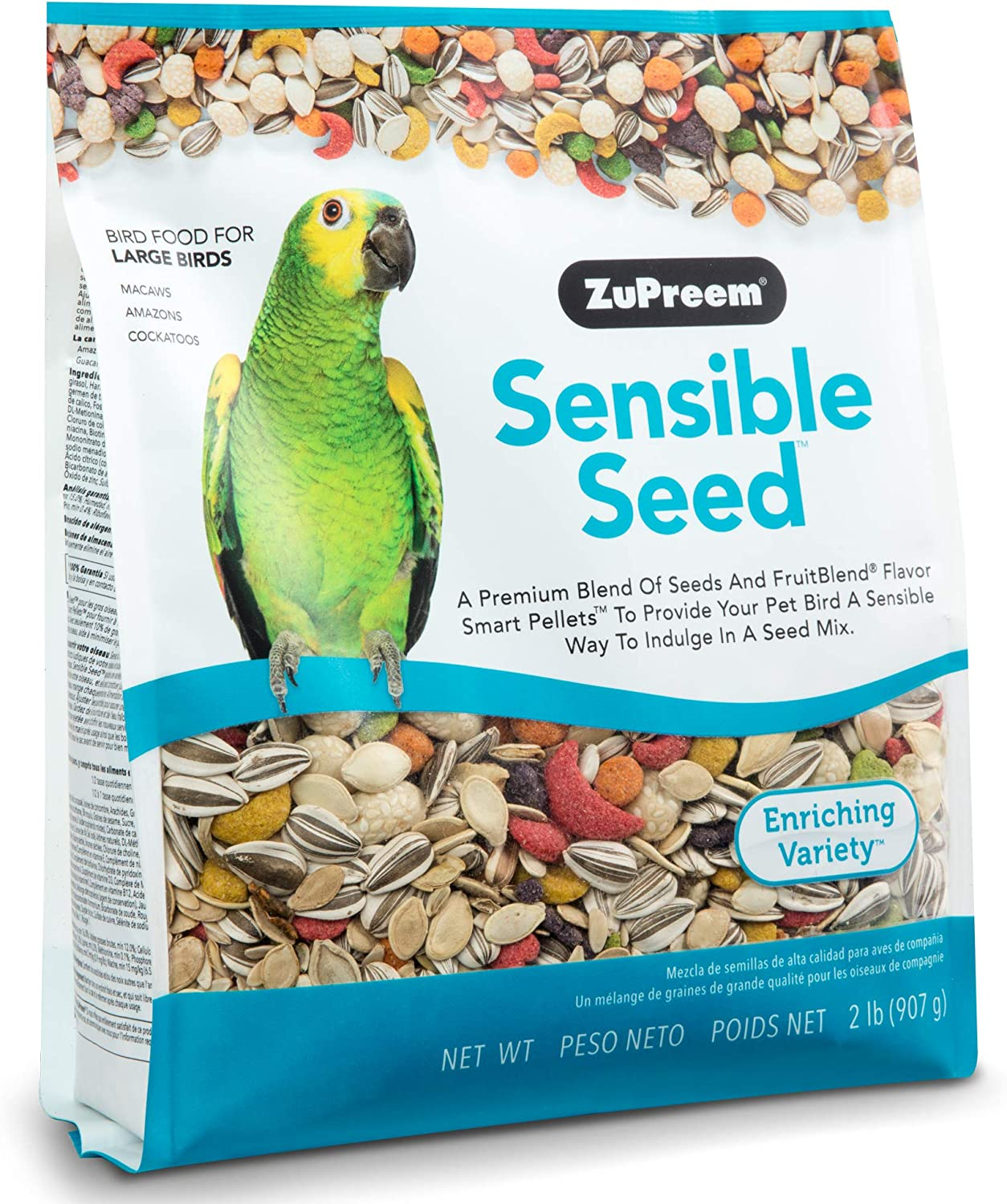 ZuPreem Sensible Seed Bird Food for Large Birds, 2 lb Bag - Premium Blend of Seeds and FruitBlend Pellets for Amazons, Macaws, Cockatoos