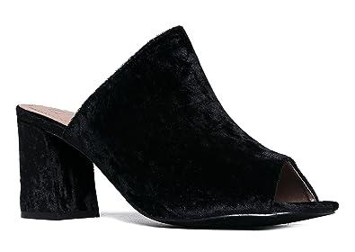0d6a2dcf198e High Heel Sandal Mule - Comfortable Everyday Slip On Heel - Trendy Cute  Slipper Shoe -