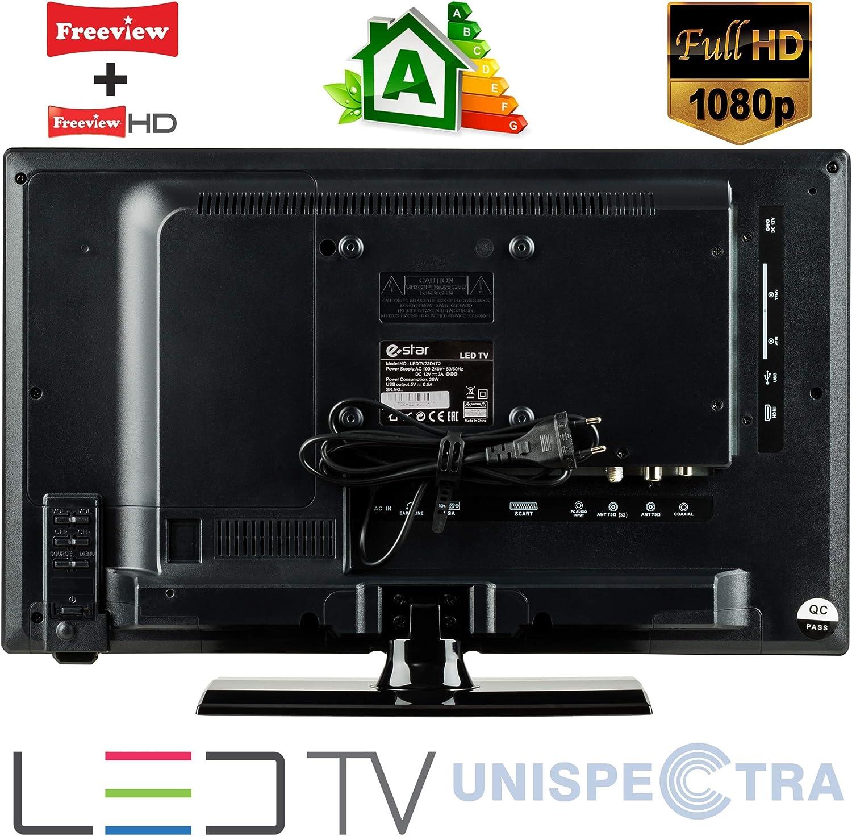 Autocaravanas Camper Barco 12 Voltios 22 Pulgada LED Full HD Digital TV DVB-T2/C/S2 TDT/Cable/Satélite TV USB de 12V 220V USB PVR & Reproductor Multimedia Monitor de PC + Soporte de Montaje en