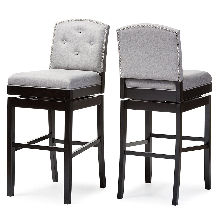 amazoncom baxton studio ginaro modern  contemporary fabric buttontuftedupholstered swivel bar stool (set of ) grey kitchen  dining. amazoncom baxton studio ginaro modern  contemporary fabric