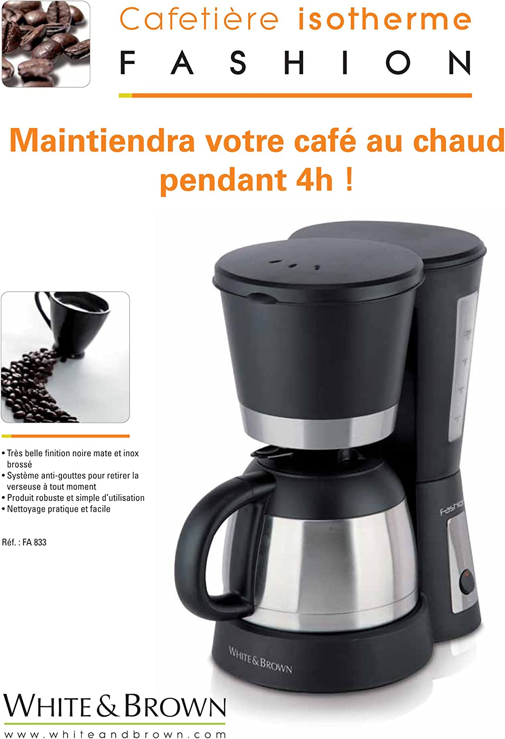800W White and Brown inox 1 Liter 800 W Cafeti/ère isotherme FA 833 1 Litre NOIR 10 tasses