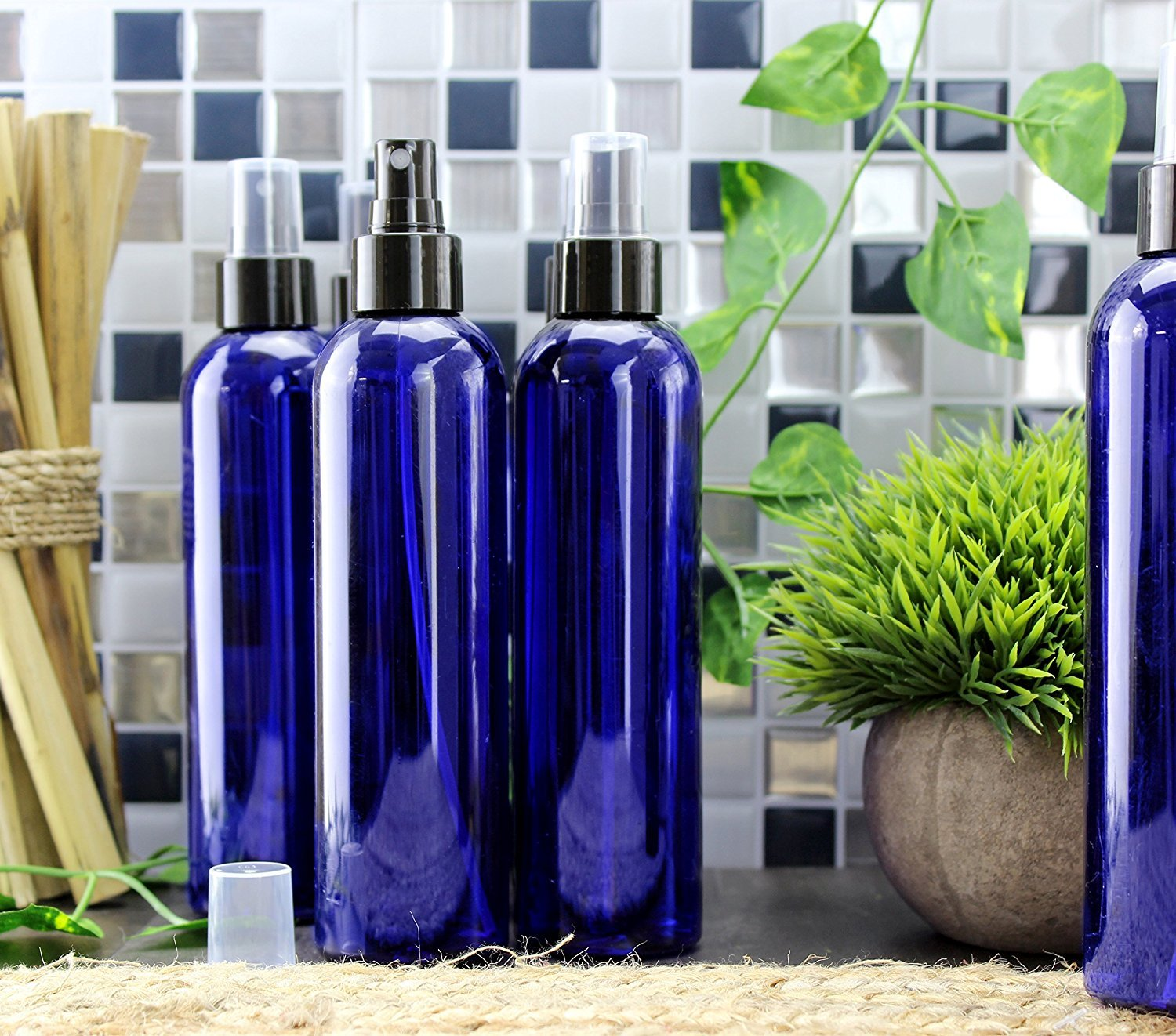 8oz Cobalt Blue Plastic PET Spray Bottles w/Fine Mist Atomizers (6-pack); for DIY Home Cleaning, Aromatherapy, Beauty Care by Cornucopia Brands (Image #2)