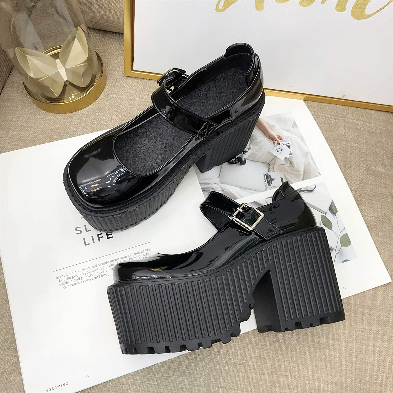LBTSQ-Panecillo Gruesa Suela Gruesa Solo Zapato Tacon Tacon Tacon Alto Retro Pequeños Zapatos De Cuero Moda Joker.Treinta Negro 9dd685