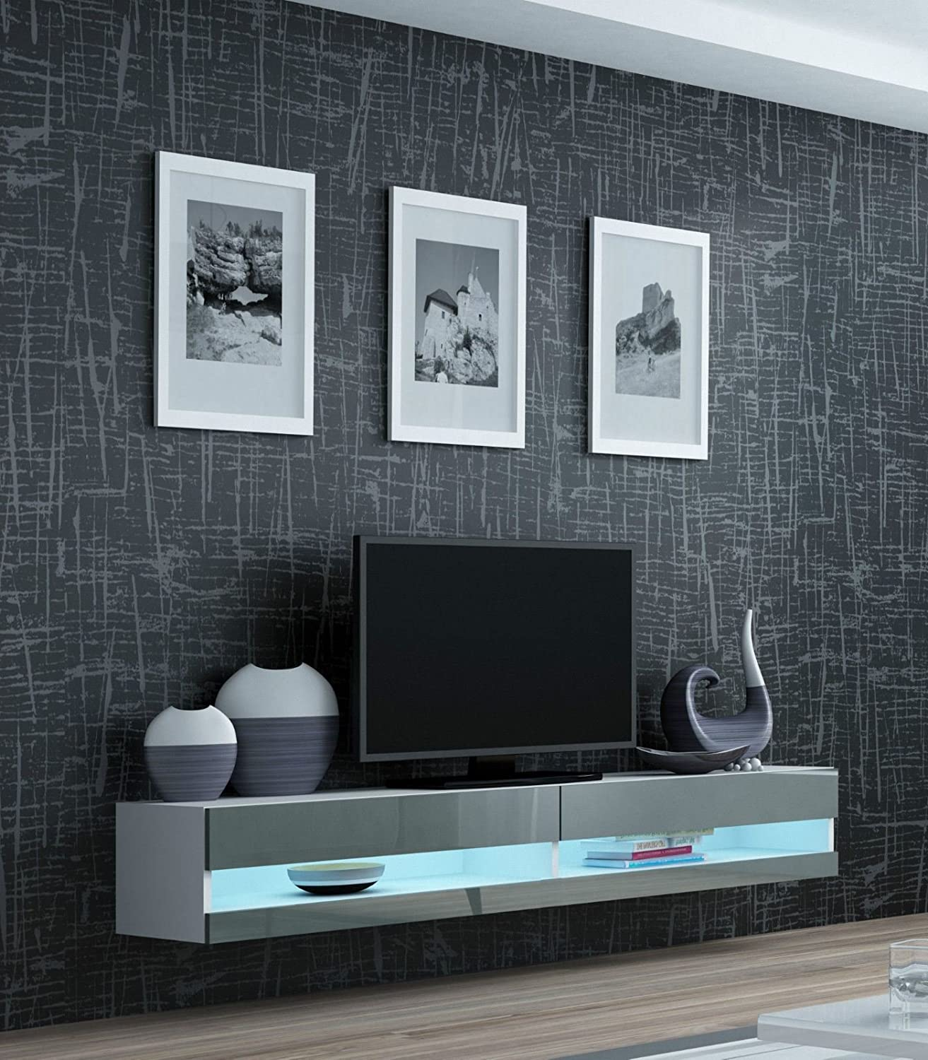 Tv Stand Wall Mounted Cabinet High Gloss Living Room Set With Led Lights Modern Display Units