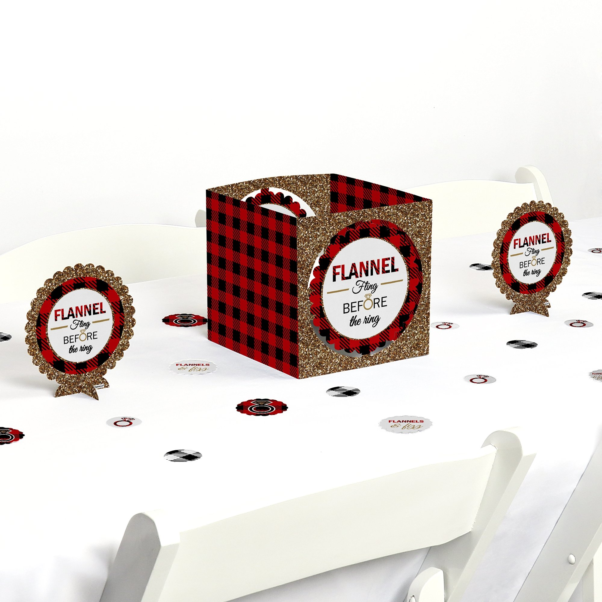 Flannel Fling Before The Ring - Buffalo Plaid Bachelorette Party Centerpiece & Table Decoration Kit by Big Dot of Happiness