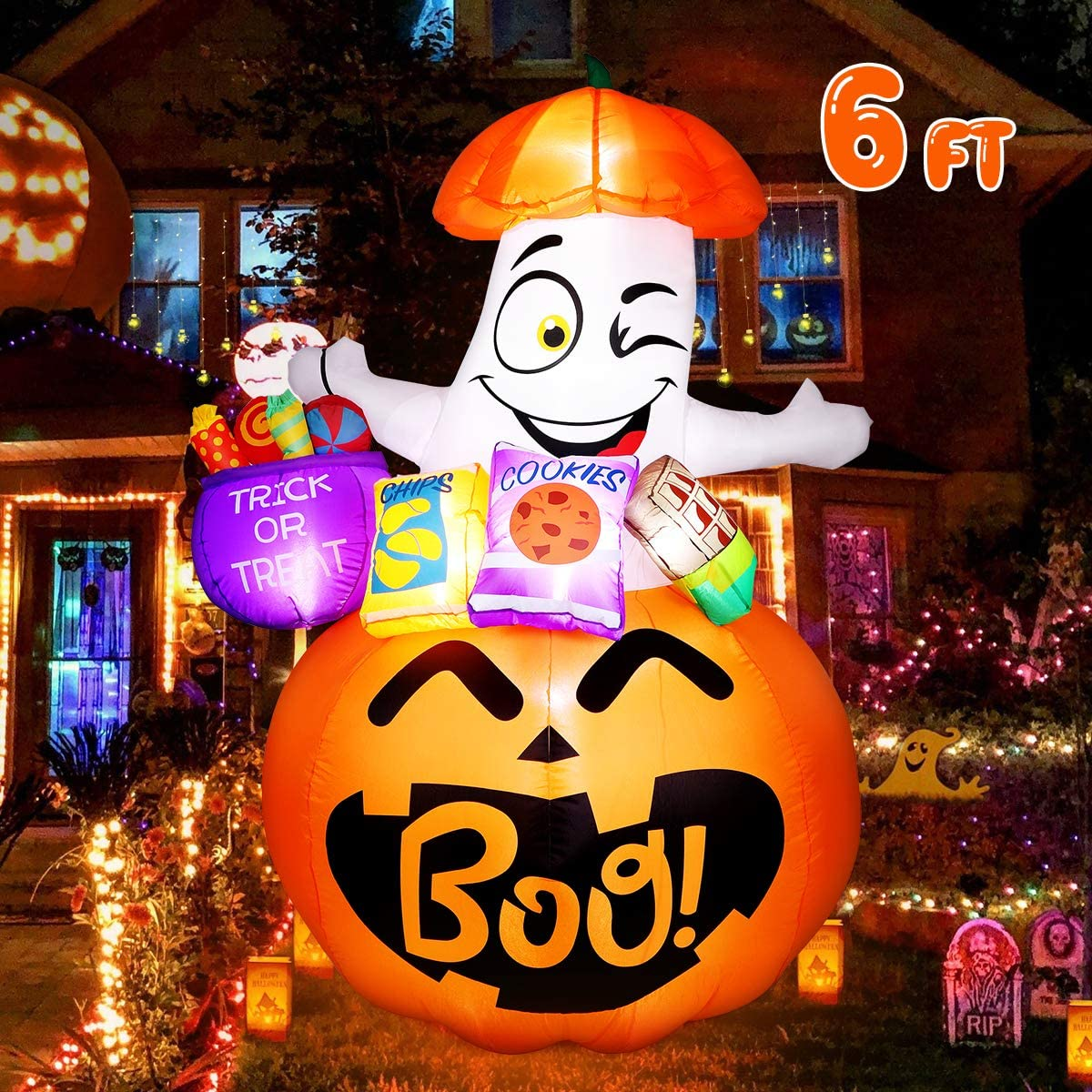 Halloween Inflatables Ghost Decorations, 6FT Halloween Blow Up Party Decor with Built-in LED Lights for Outdoor Yard Lawn