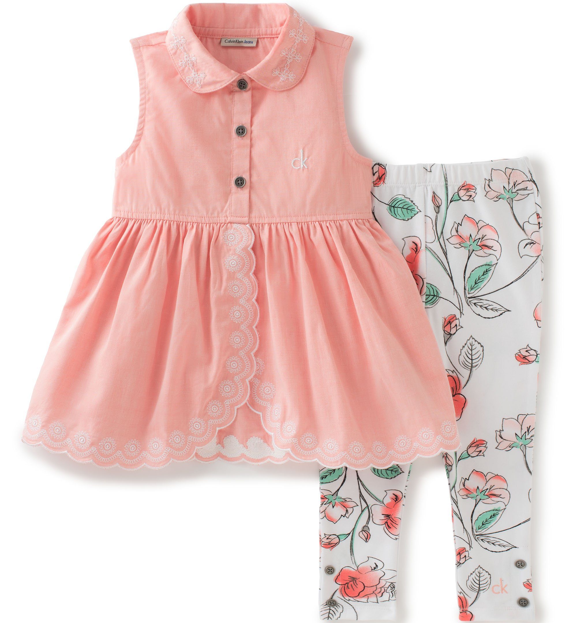 Calvin Klein Little Girls 2 Pieces Tunic Pant Set - Chambray, Coral, 5