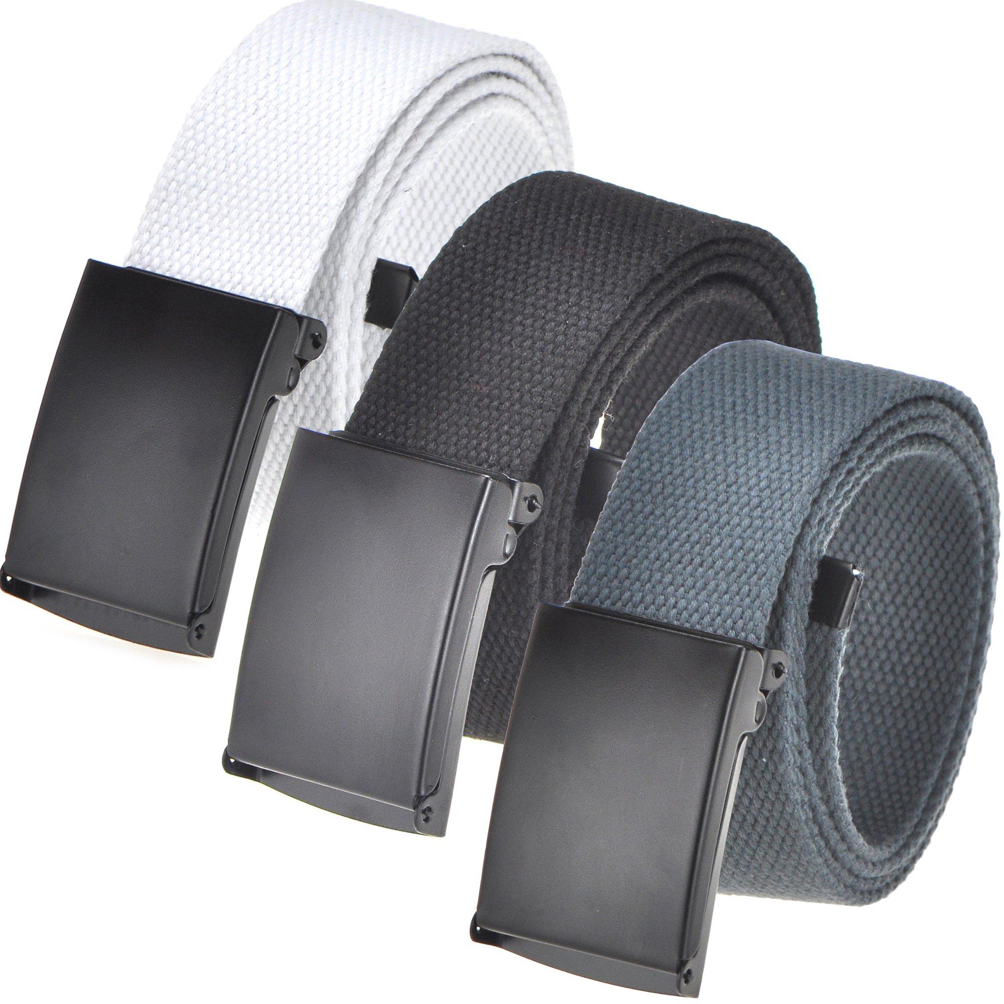 Men's Casual Outdoor Belt 16 colors, Canvas Web belt Waist Flip-Top Solid Black Buckle Up to 56'' (3 Pack, Black/Natural/Dk Grey)