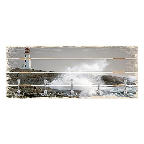 Bilderwelten Perchero de Madera - Storm Waves At The ...