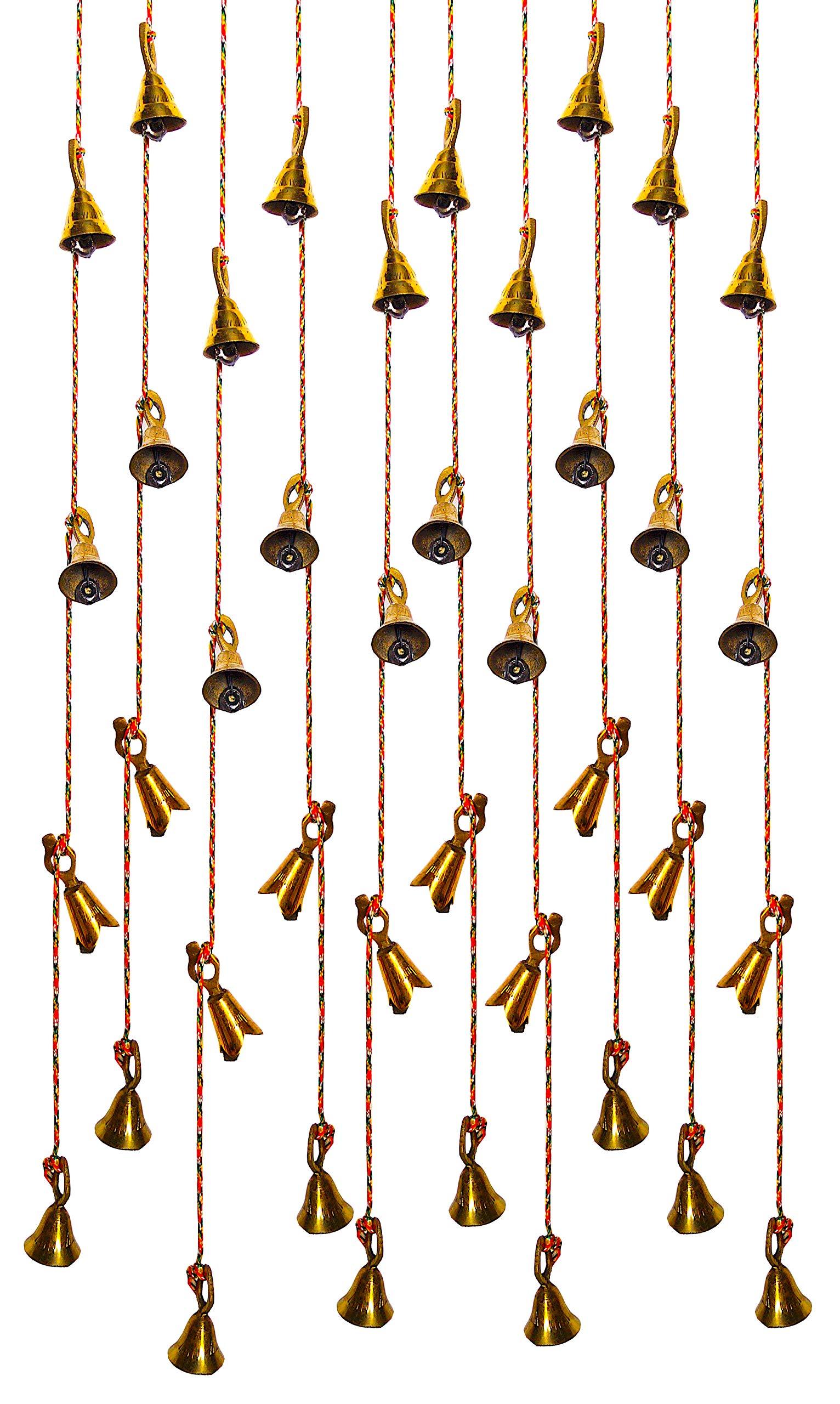 Shalimar's Showroom String of Bells Set of 12 Brass Hanging Door Bells Decorative String Indian Style Fair Trade Wall Hanging Bells (37'' String) by Shalimar's Showroom