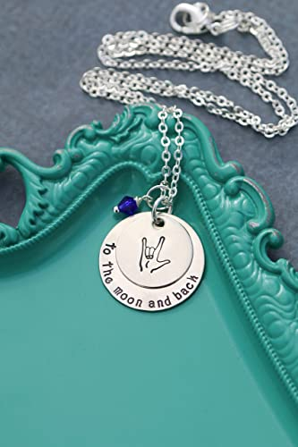 Amazon I Love You To The Moon And Back Necklace Dii Abc Asl