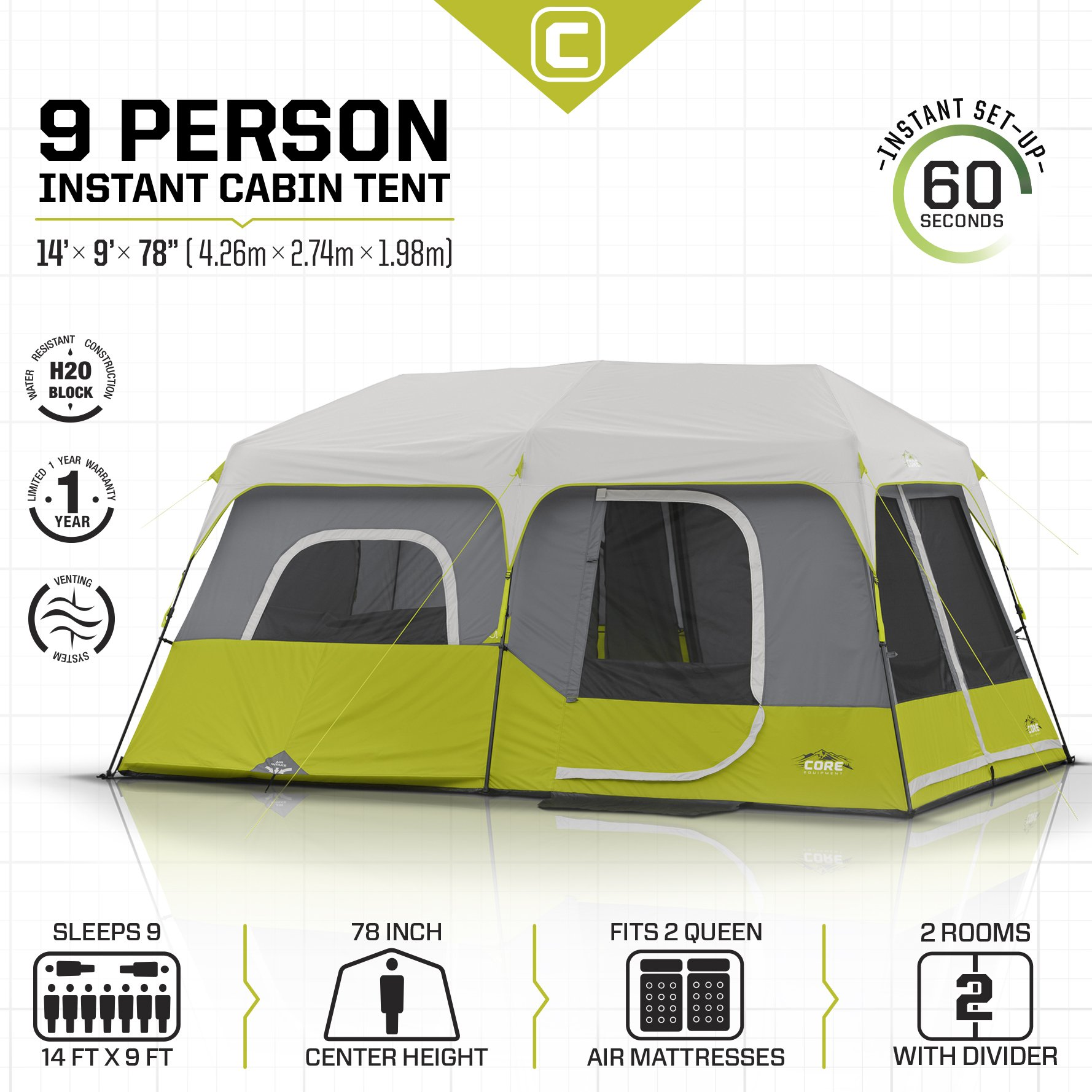 CORE 9 Person Instant Cabin Tent - 14' x 9' by CORE (Image #3)