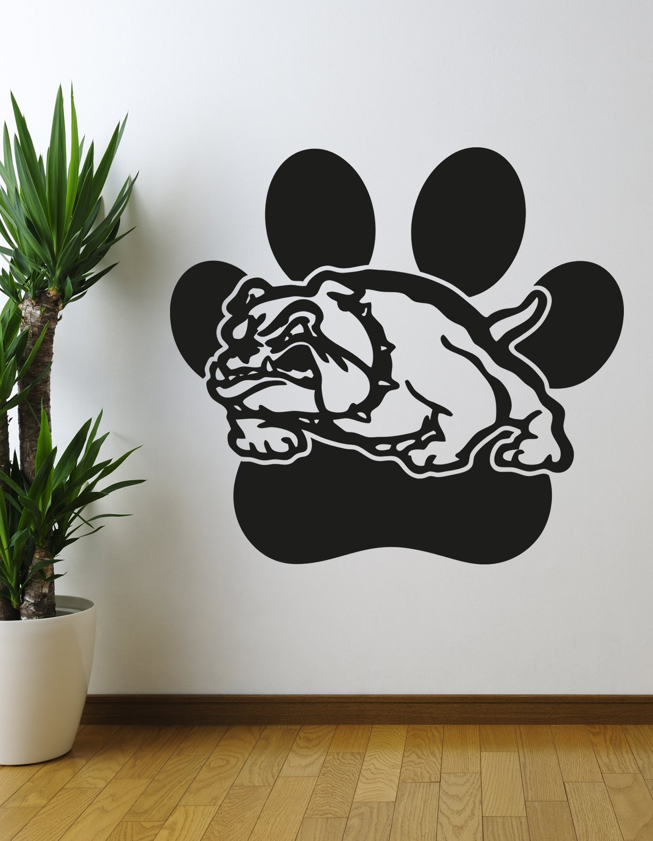 Stickerbrand School Mascot Bulldog w/Paw Print Wall Decal Sticker Large 36in x 39in. #OS_AA619s. Easy to Apply & Removable. You Pick The Color.
