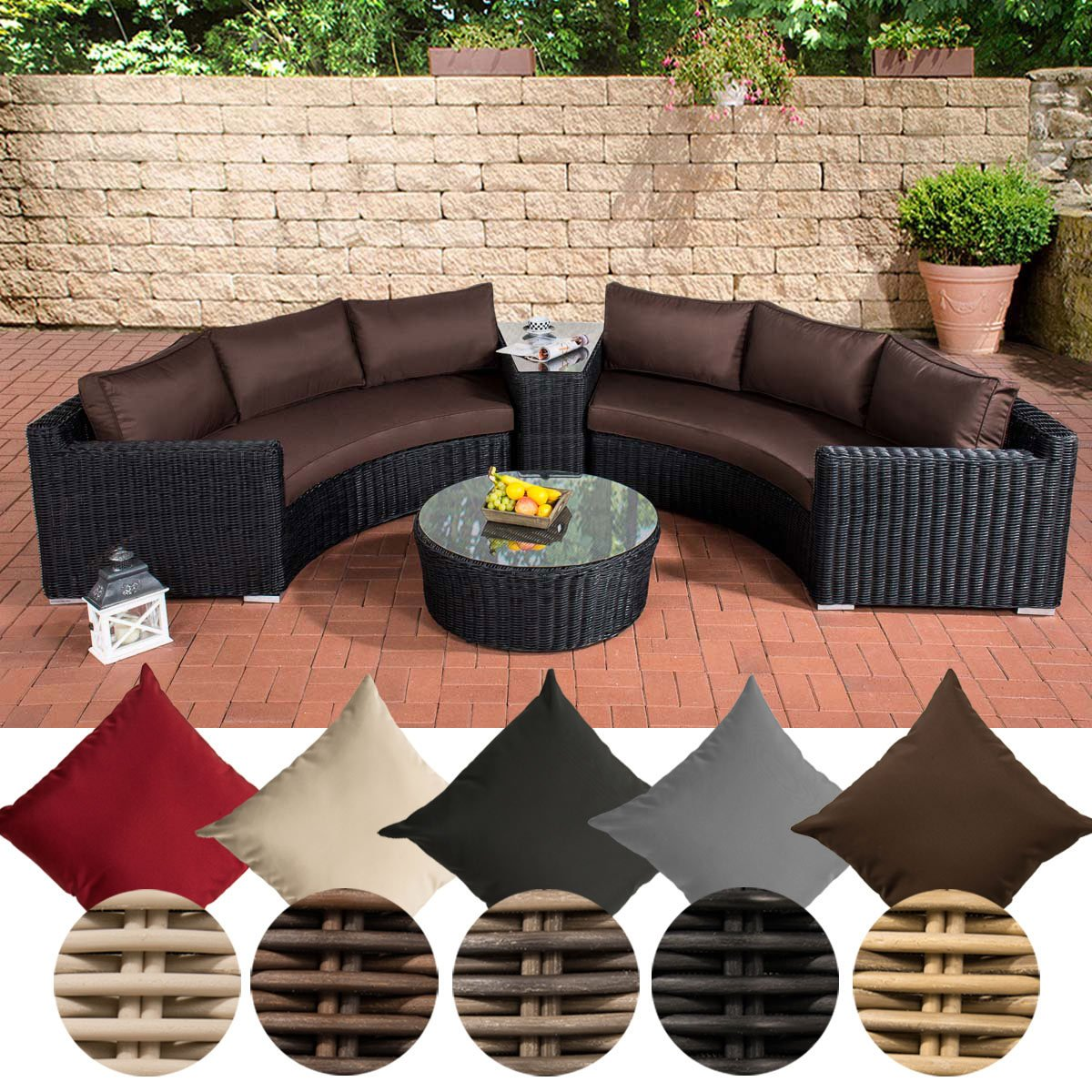 clp poly rattan garten lounge set rund barbados 2x 3er sofa glastisch rund 80 cm 6. Black Bedroom Furniture Sets. Home Design Ideas