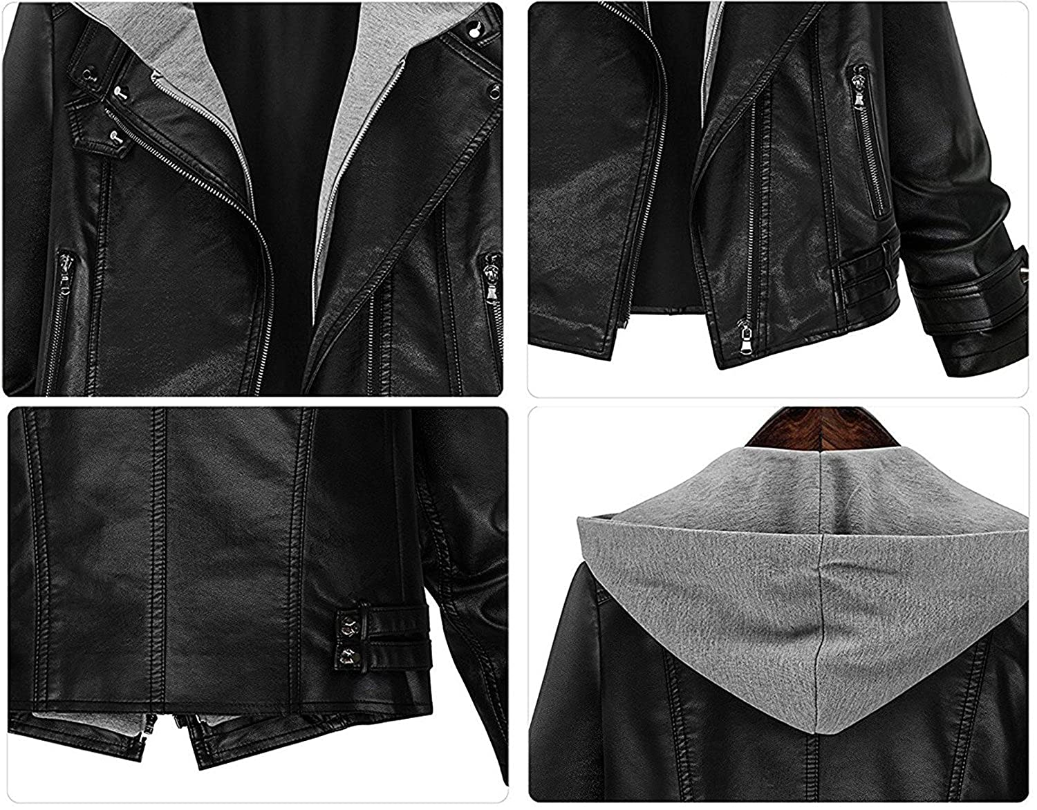 KEBINAI Fashion Womens Stylish Layered Moto Faux Leather Jacket, Ladys Short Zip Up Hooded Faux Leather Coat at Amazon Womens Coats Shop