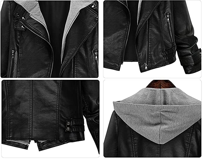 Bikifree Fashion Womens Stylish Layered Moto Faux Leather Jacket, Ladys Short Zip Up Hooded Faux