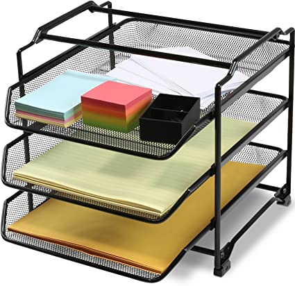 decobros stackable 3 tier desk document letter tray organizer black