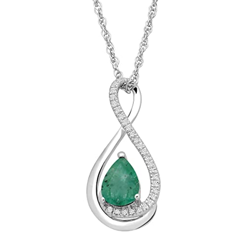 5 8 ct Natural Emerald Pendant Necklace with Diamonds in Sterling Silver