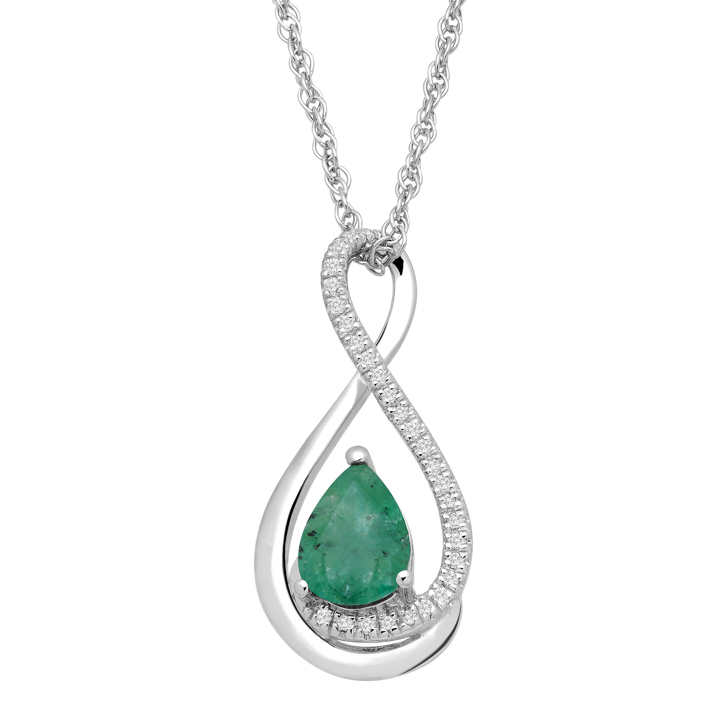 5/8 ct Natural Emerald Pendant Necklace with Diamonds in Sterling Silver