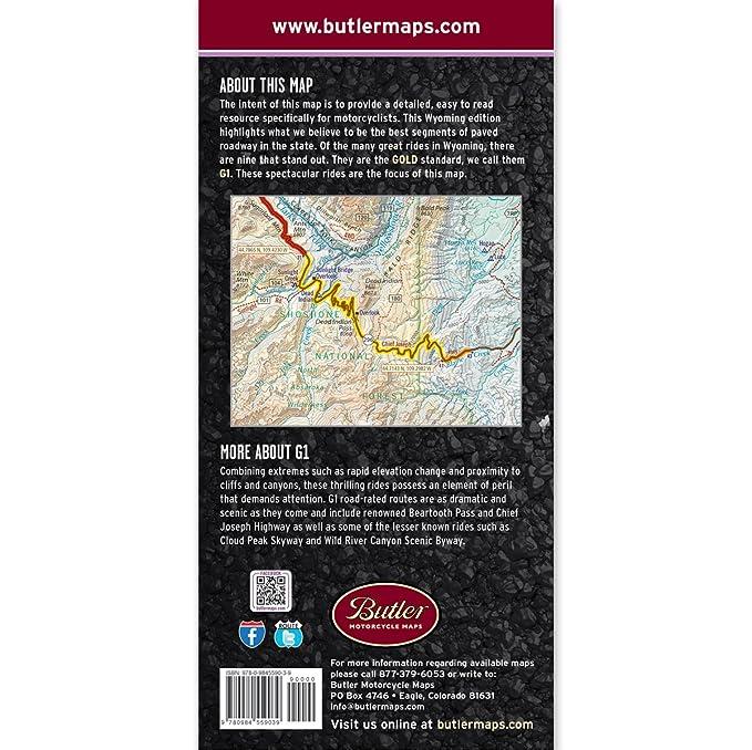 Amazon Com Butler Maps G1 Wyoming Motorcycle Map Butler Maps Automotive