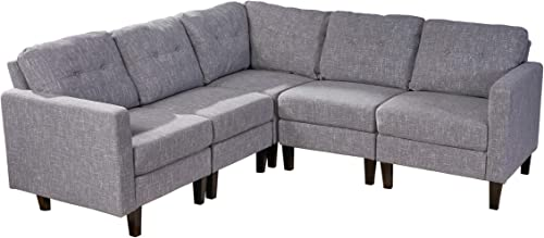 Christopher Knight Home Marsh Mid Century Modern Sectional Sofa Set, Gray Tweed Dark Brown