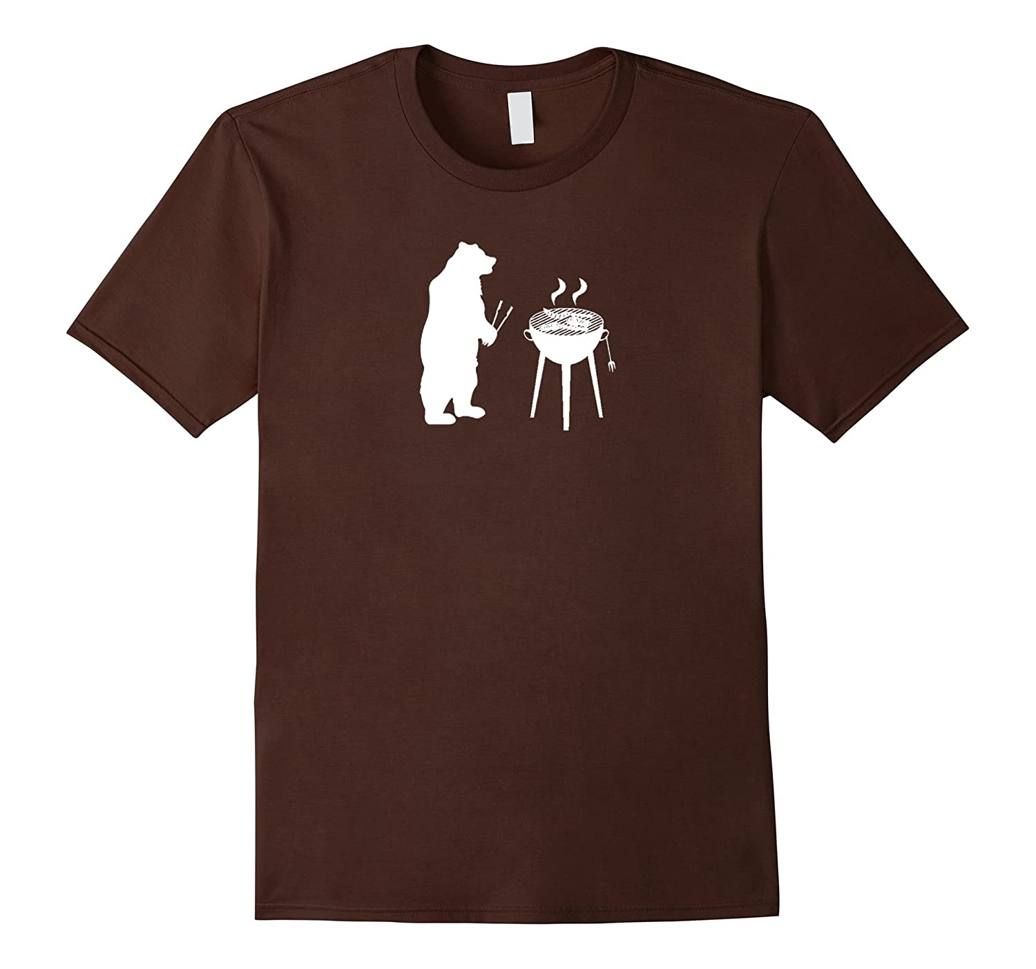 A Bear Grilling - Funny T Shirt (White)-4LVS