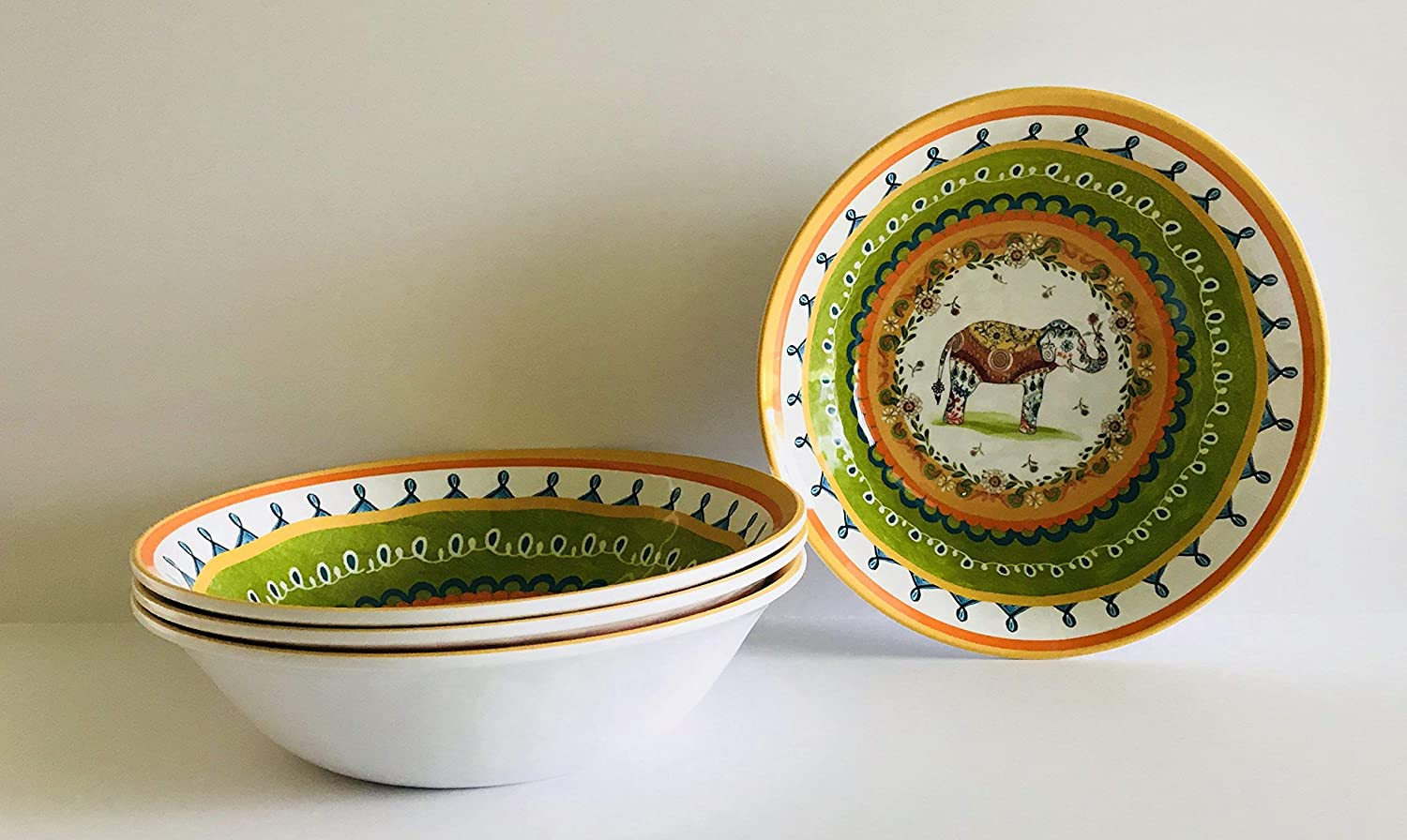 Lunch Plates Cereal Rice Pasta Soup Bowls Set Of 4 Or 2 Trunk Up Colorful Elephant Floral Melamine Serving|Dinner Set Of 4 | Rice | Pasta | Soup Bowls | 7.5 x 2 in, Green | Yellow | Blue | Orange