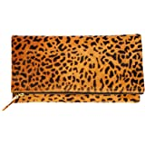 2556eb26ad Leopard Print Haircalf Fold over Clutch, Evening Handbag, One Size, Women's  Bags and