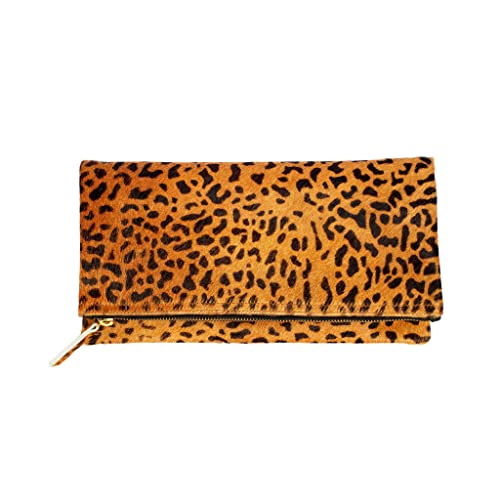 authentic great fit how to serch Leopard Print Haircalf Fold over Clutch, Evening Handbag, One Size, Women's  Bags and Purses