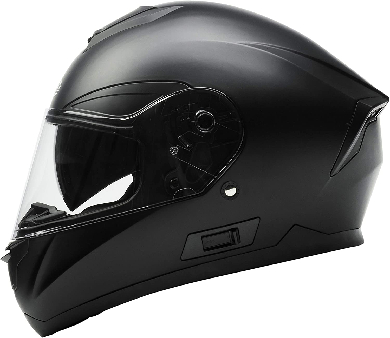 Casco Moto Integral ECE Homologado - YEMA YM-831 Casco de Moto Scooter para Mujer Hombre Adultos con Doble Visera -Negro Mate-L