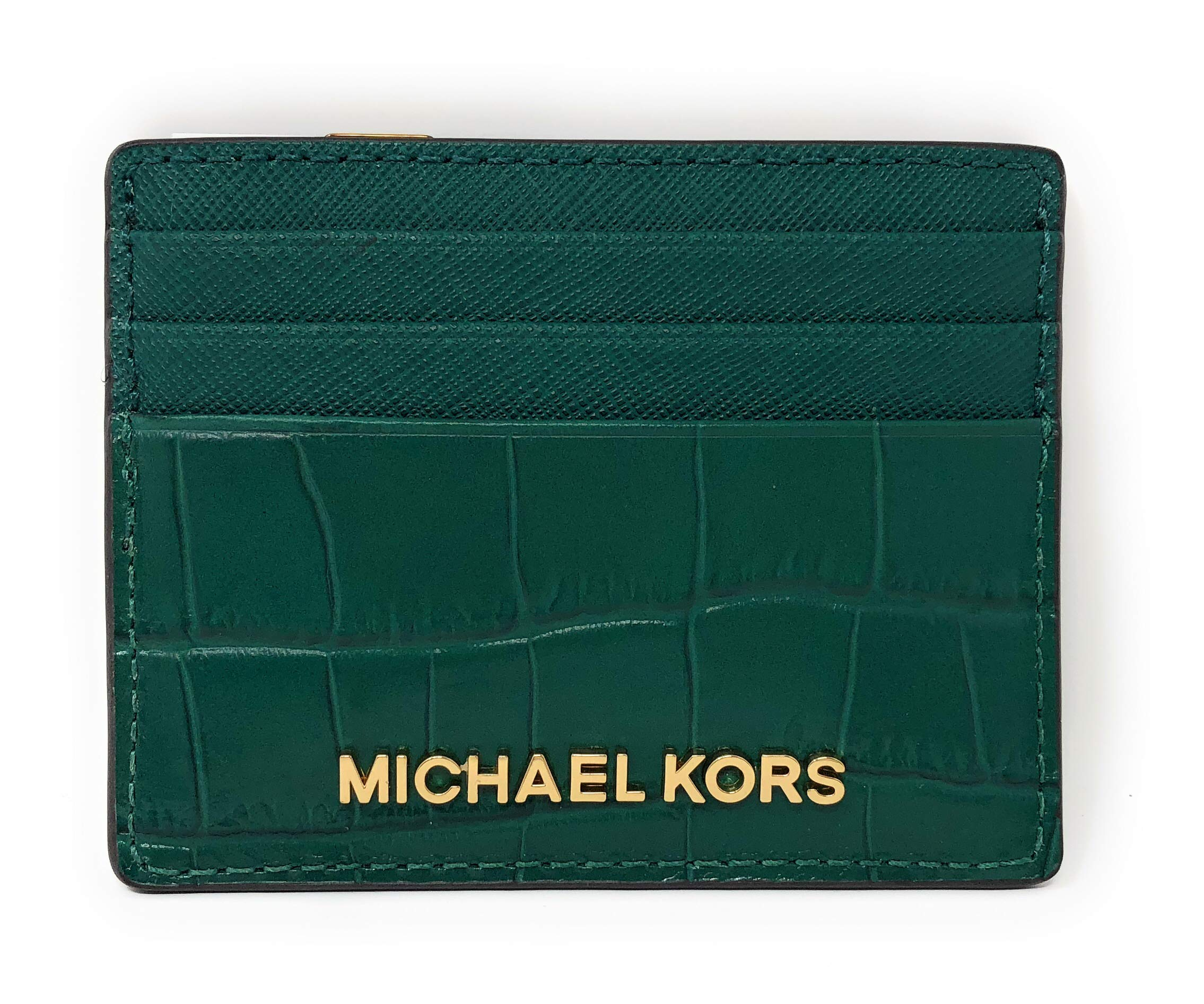 Michael Kors Jet Set Travel Credit Card Holder Case Embossed Leather in Emerald