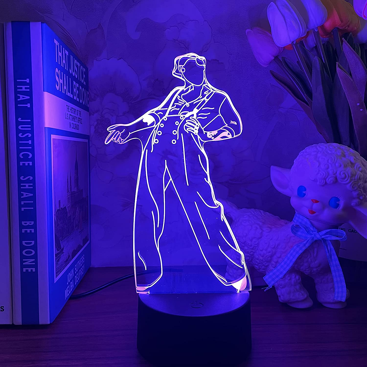 KATA Harry Edward Styles 3D Singer Idol Night Light Harry Styles lamp Gift for Fans Bedroom Decor Light Led Sensor Color Changing Work Desk Lamp Harry & Styles-Remote Contro