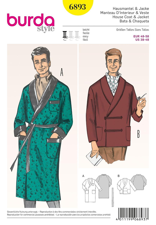 Amazon.com: Burda Style Mens House Coat and Jacket Sewing Pattern Sizes 38-48: Home & Kitchen