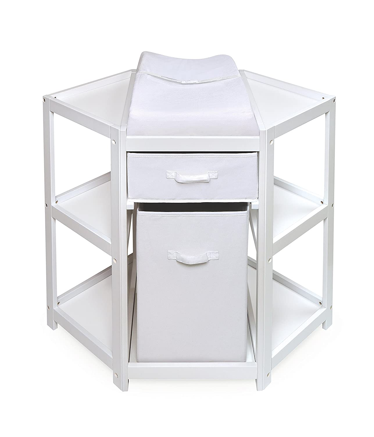 Amazon.com : Badger Basket Diaper Corner Baby Changing Table With Hamper/ Basket, White : Baby