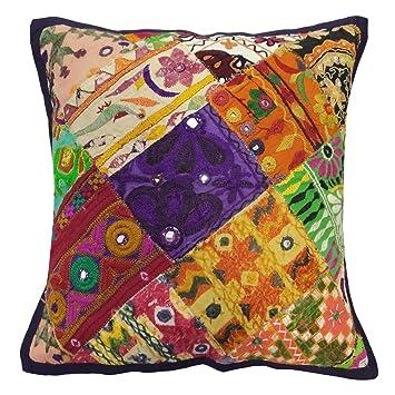 Amazon.com: Multicolor bordado Patchwork Throw almohada ...