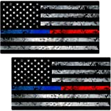 "Thin Blue / Red Line Flag Sticker 2 Pack ""GRUNGE"" LAMINATED tattered Police Fire USA Vinyl Decal Lives Matter Memorial Car Truck Bumper Winshield Design"