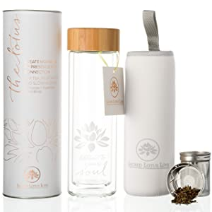The Lotus Glass Tea Tumbler Infuser Bottle & Strainer for Loose Leaf, Herbal, Green Tea, Coffee or Fruit Water Infusions. 450ml/15oz Keeps Drinks Hot or Cold for 45 min. Bamboo Lid + Travel Sleeve