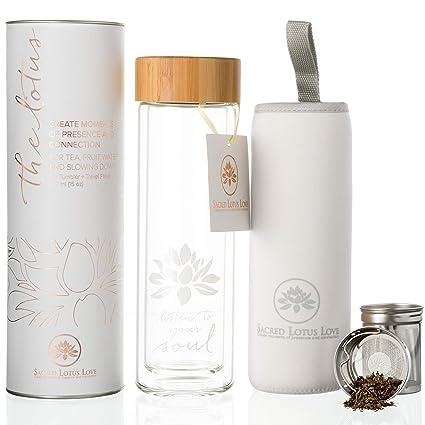 Frasco de vidrio para viaje en botella de té con infusor y colador para té y café de hojas sueltas, agua de frutas
