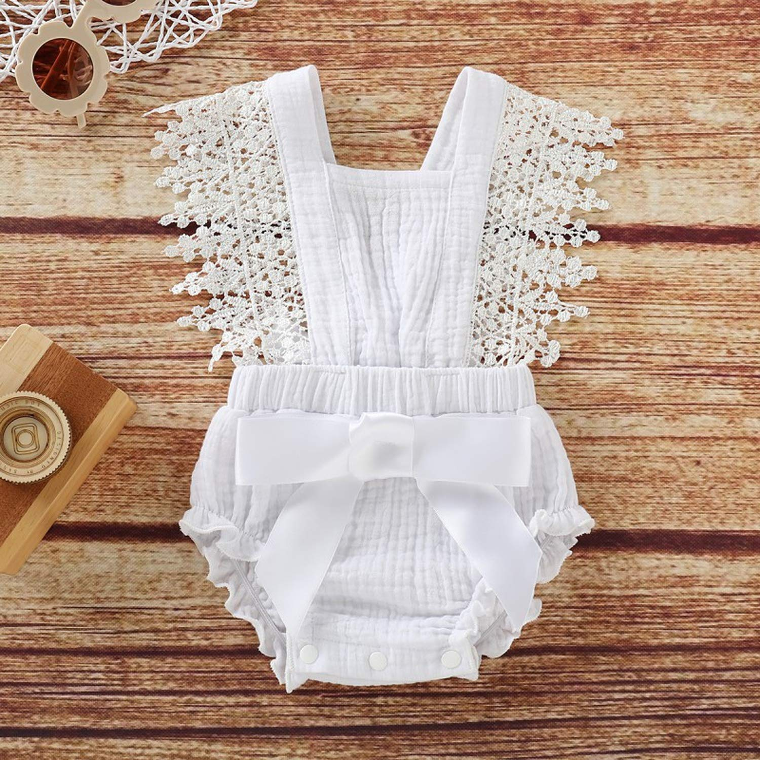 Cotton Baby Bodysuit Summer One Piece Newborn Baby Girls Sleeveless Lace Bow Jumpsuit Romper
