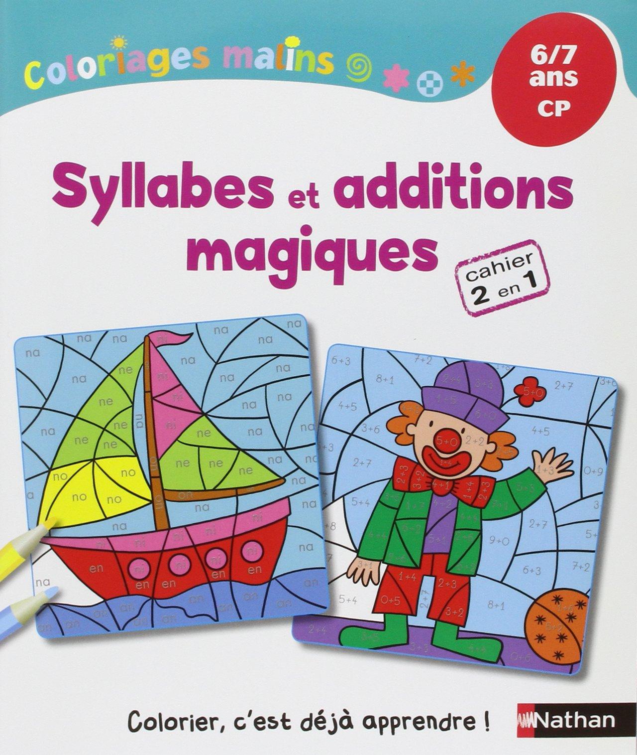 amazon fr coloriages malins syllabes et additions magiques cp