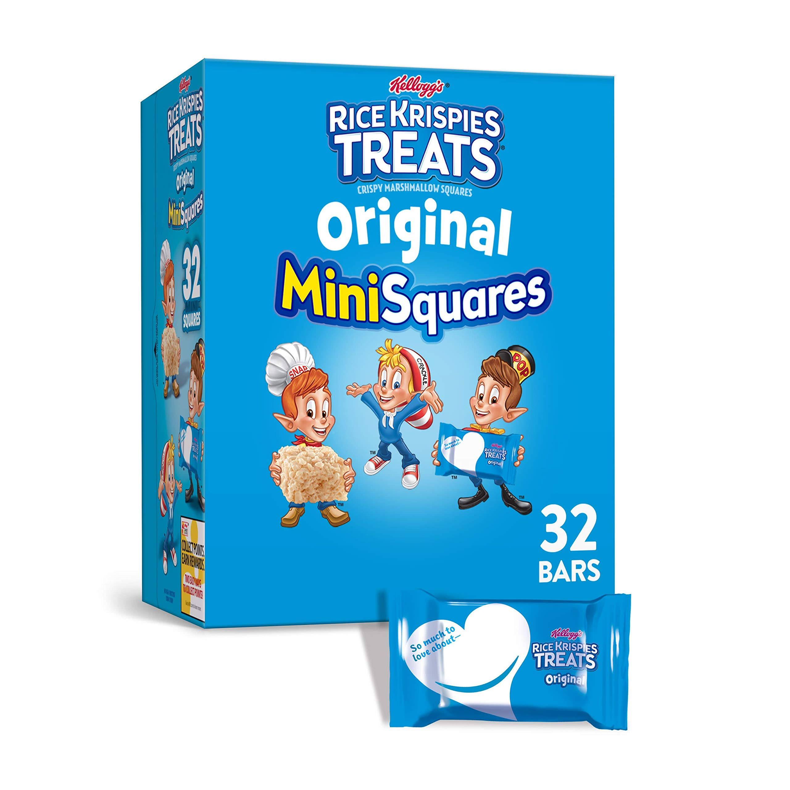 Kellogg's Rice Krispies Treats, Mini Squares, Crispy Marshmallow Squares, Original, 12.4oz Box (32 Count)