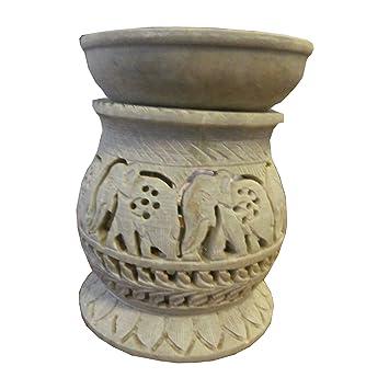 Lámpara aromática 11cm elefantes forma de tonel piedra de jabón hornillo 2 partes velita