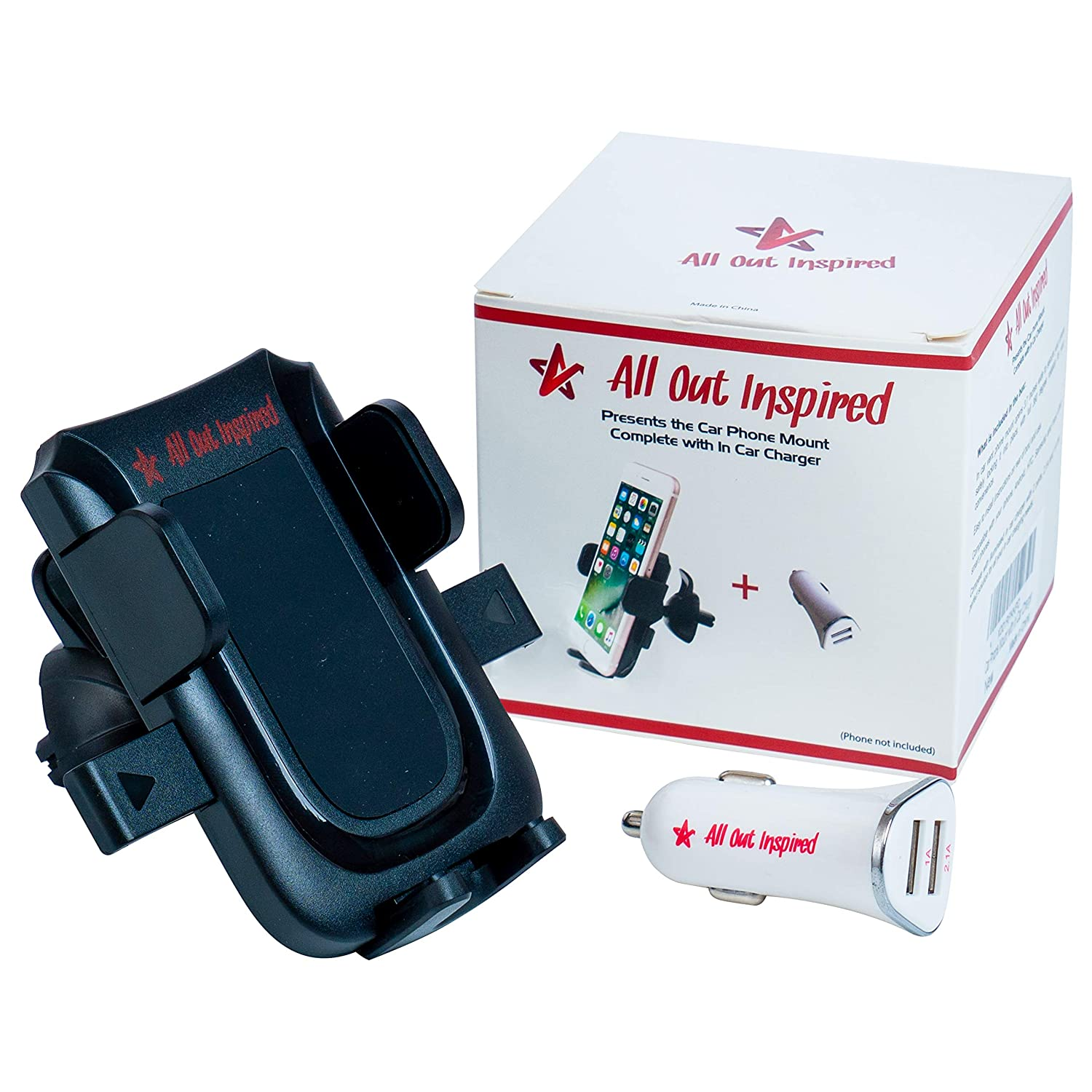 All Out Inspired Phone Mount Holder with 3.1A Dual Port in Car Charger Samsung and Smartphone Upto 3.5 Inches Wide Lightweight Best Hands Free Solution Suitable for Your iPhone Sleek 4344271283 Sturdy